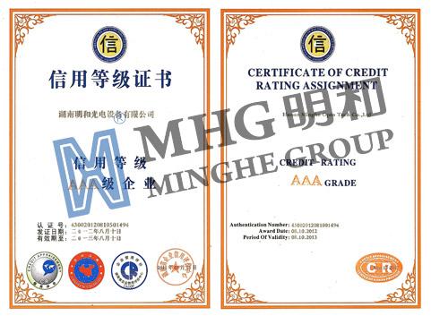 明和光电再次获评湖南省信用等级AAA级企业